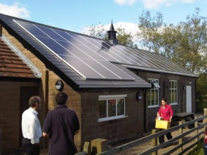 Ingram Village Hall, with solar panels on roof, July 2010